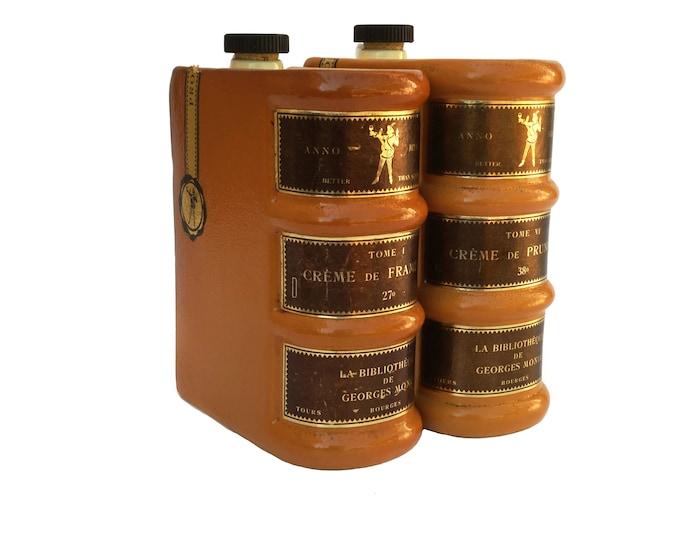Ceramic Book Decanter Bottles for Monin Liqueurs, French Faux Book Secret Bar Decor