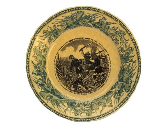 Antique Military Transferware Faience Plate by Vieillard Bordeaux, French Indochina History Collectible
