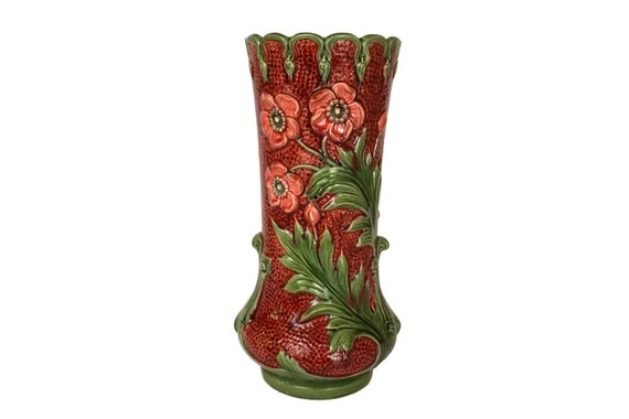 Antique Majolica Poppy Vase