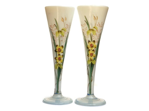 Antique French Opaline Glass Vases, Pair of Hand Painted Bud Vases, Blown Art Glass