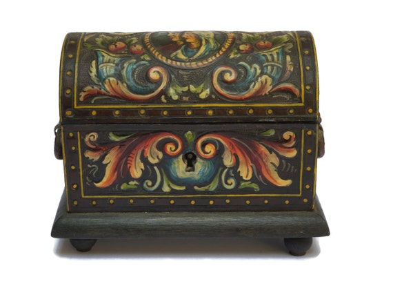 Vintage Wood and Tooled Leather Jewelry Casket, Wooden Treasure Chest
