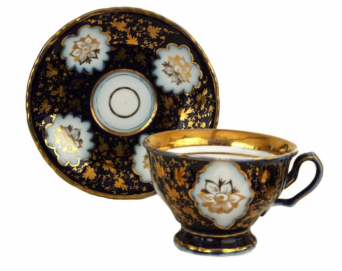 Antique Austrian Porcelain Teacup, Hand Painted Blue and Gold China Tea Cup and Saucer Set