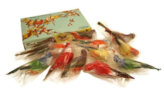 Vintage Spun Cotton Bird Ornament Figurines, Set of 12, Birds of the World That Sell Made in Honk Kong