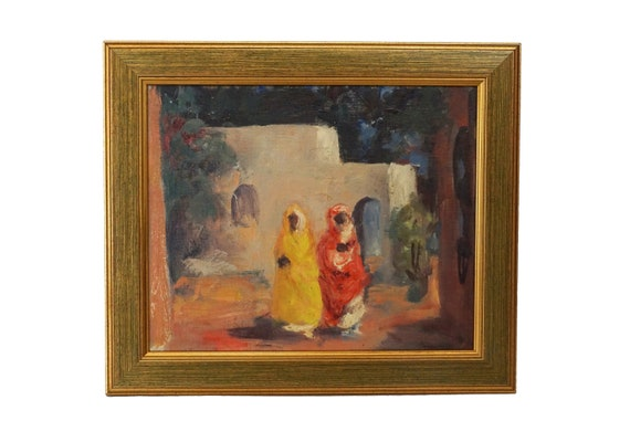 Orientalist Moroccan Women Painting, Vintage Framed African Art