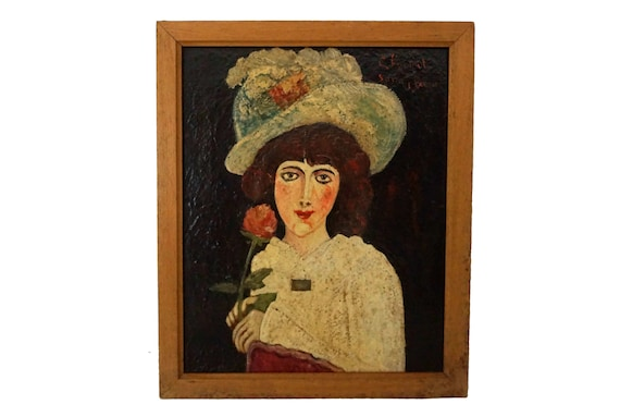 Sarah Bernhardt Portrait Painting Signed Chaouat, Antique French Woman in Hat Art