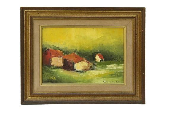 French Abstract Landscape Oil Painting by Pierre Eugene Chauvet