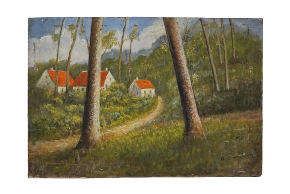 French Country Cottage and Forest Landscape Painting, Rustic Art and Home Decor