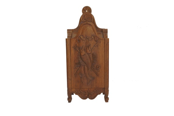 Carved wood flour box, French Provencal kitchen furniture