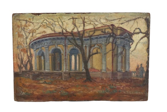 Antique Russian Architecture Painting of Rossi Pavillion in St Petersburg, Garden and Tree Landscape Art