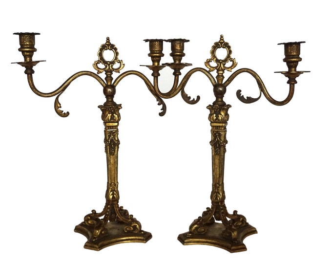 Antique French Bronze Candelabra, Pair of 2 Branch Louis XVI Style Candlestick Holders