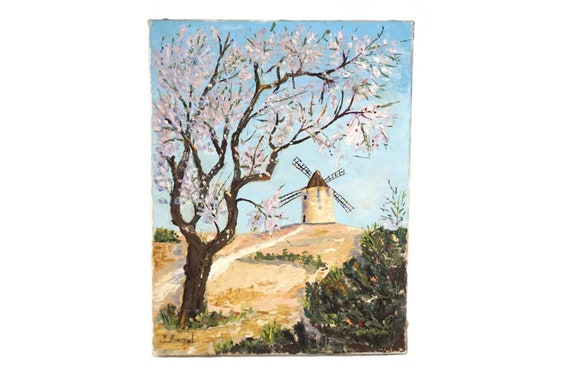 Windmill and Tree Landscape Painting, Original, Signed French Country Scenic Art