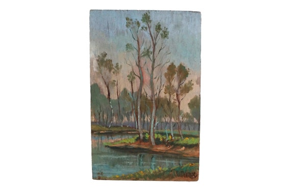 River and Trees Painting in French Country Landscape, Original Signed Art