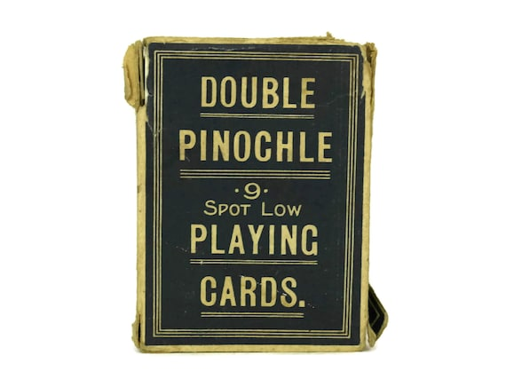 Antique Samuel Hart Deck Of Playing Cards in Box, Double Pinochle Pack of Game Cards, Casino and Bar Decor, Gift For Card Player
