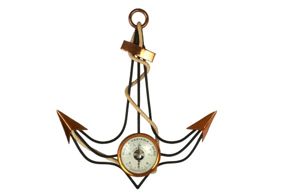 Mid Century Copper Anchor Barometer and Thermometer Weather Station