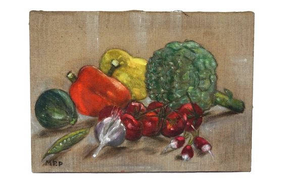 Food Art Vegetable Still Life Painting, French Country Kitchen Wall Decor