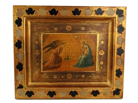 The Annunciation Florentine Framed Art Print by Fra Beato Angelico, Religious Wall Art Hanging