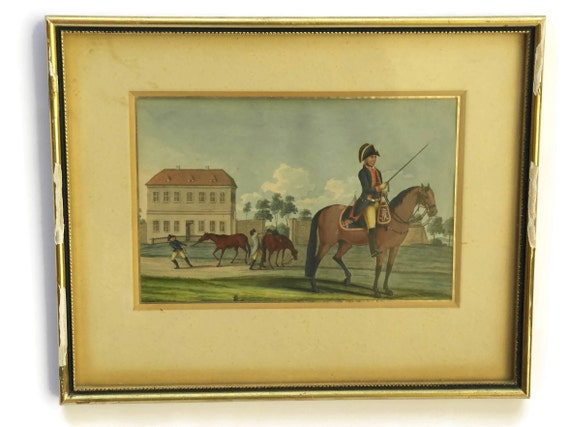 Antique Military Equestrian Art Painting, Soldier on Horseback Portrait, Gouache on Paper, Militaria Gift