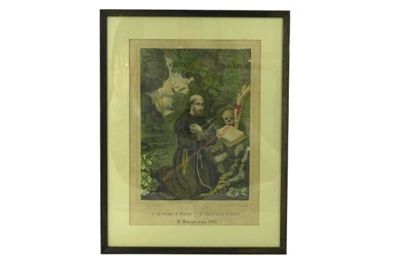 Antique Saint Francis of Assisi Art Print by Wentzel of Wissembourg, Framed French Religious Lithograph