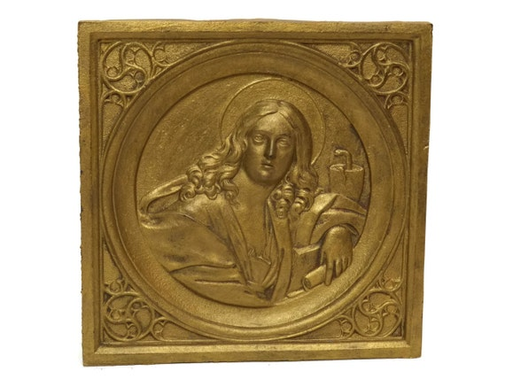 Antique St John Wall Plaque. French Religious Art. Christian Gift.