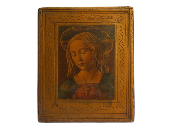 Florentine Virgin Mary Portrait Art Print, Christian Saint Decor and Gifts