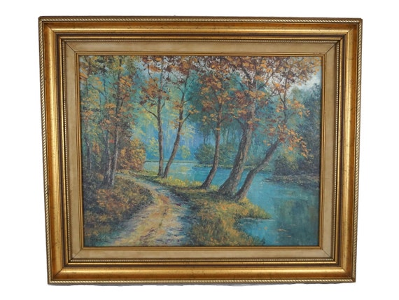 Forest and River Painting on Canvas, Fall Landscape Original Art