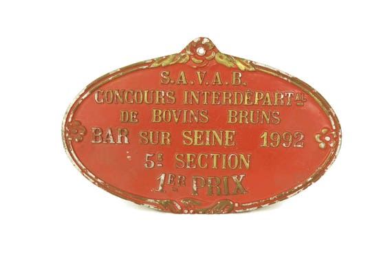 French Vintage Agricultural Award Medal, 1992 Birthday Gift, Shabby Red and Gold Wall Sign Plaque, Country Decor