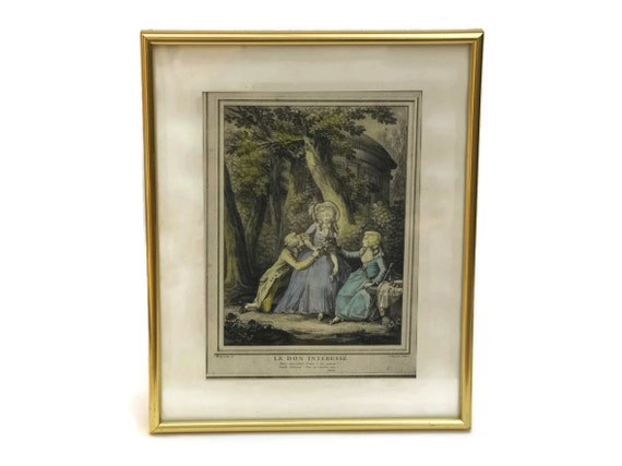 Antique French Romantic Engraving. Framed Print of Le Don Intéressé by Boret and Voysard. French Art Boudoir Decor.