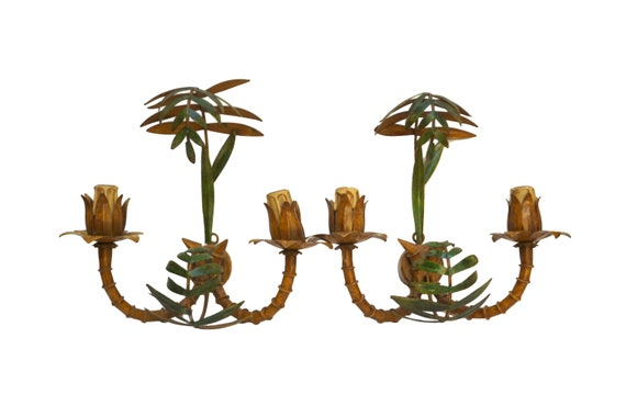 Tole Bamboo Wall Sconce Light Fixtures, Pair of Vintage Toleware Candelabra