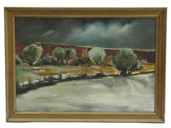French Landscape with Thunderstorm Painting, Large Framed Original Art