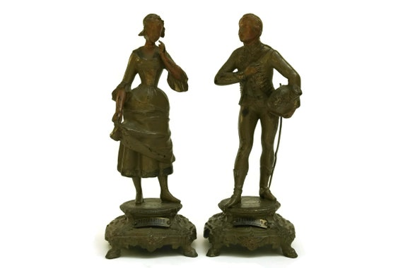 Antique Courting Couple Statuette Pair by Charles Perron, French Romantic Courtship Figurines