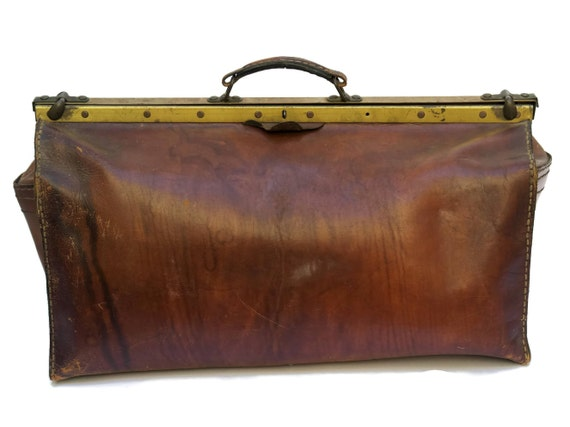 French Antique Leather Doctors Bag, Brown Gladstone Carryall