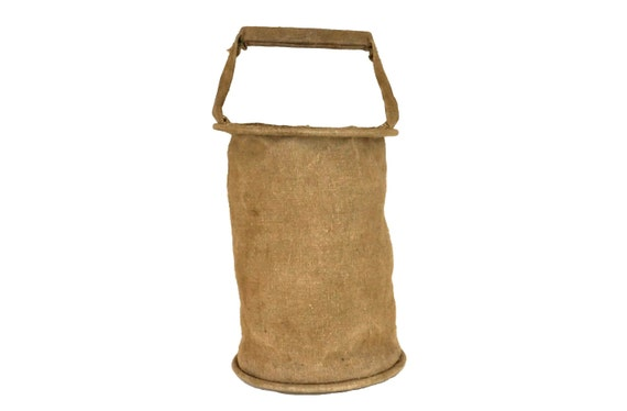 Collapsible Canvas Water Bucket, French WWII Military Surplus Water Carrier