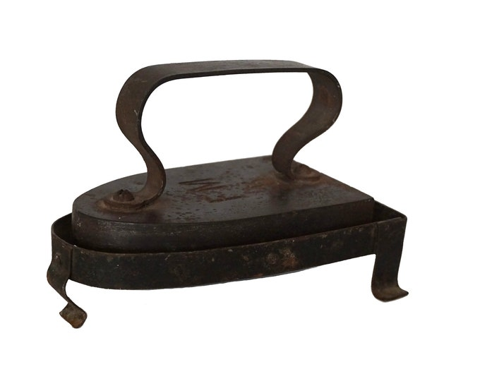French Antique Clothes Sad Iron and Rest, Cast Iron Doorstop, Laundry and Craft Room Decor