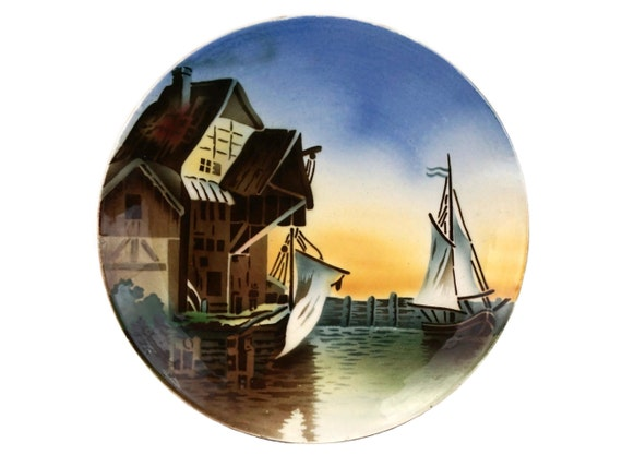 Antique Villeroy & Boch Wall Plate with Sailing Boat and Dock, Nautical Decor