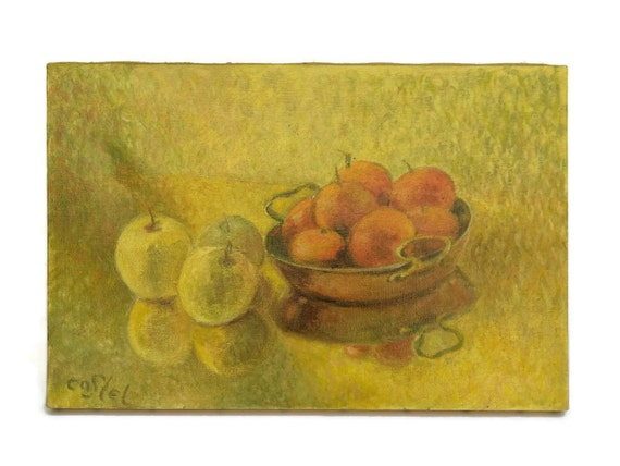 French Vintage Fruit Still Life Painting, Rustic Kitchen Art, Clementine and Apple with French Copper Pan