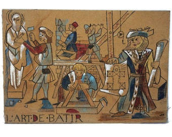 Antique Tapestry Style Painting, French Architecture and Medieval Building Construction Art