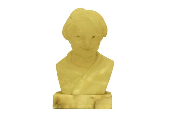Art Deco Child Head Bust, Boy Portrait Alabaster Sculpture on Marble Base