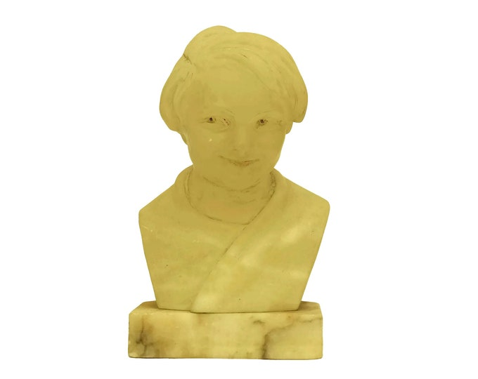 Art Deco Child Head Bust, Boy Portrait Alabaster Sculpture on Marble Base