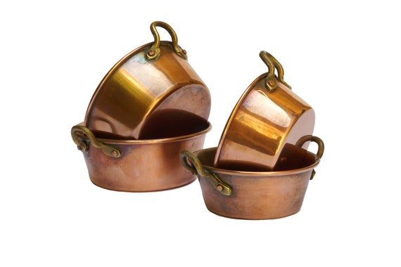 French Copper Preserve Pan Set of 4 Small Jam and Jelly Pots, Kitchen Decor and Cookware