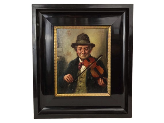 Old Man with Violin Portrait Painting by R Kainzl