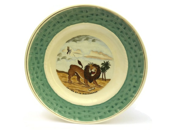 La Fontaine Fables Wall Plate, The Lion and The Fly, Vintage French Faience, Nursery Decor