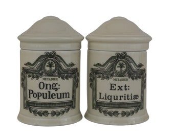 Limoges Porcelain Bathroom Storage Canisters, Pair of Vintage French Apothecary Jars