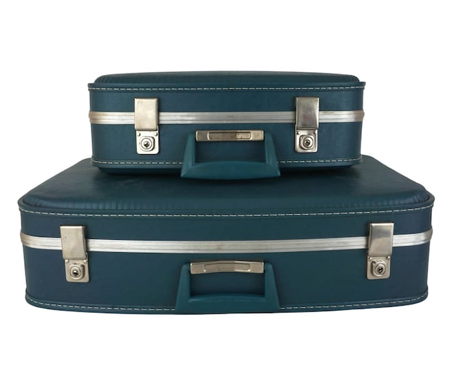 Vintage Air France Nesting Suitcase Set, Air Hostess Travel Bag Luggage with Vanity Case
