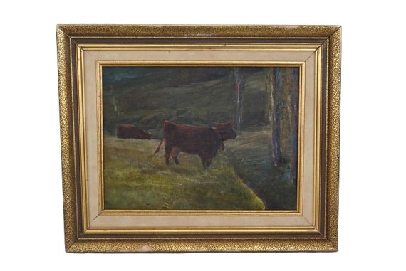 Cows in Pasture Painting, Original French Country Animal Art