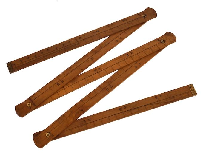 Antique Wood Folding Meter Ruler, French Carpenter's Extension Measuring Yard Stick