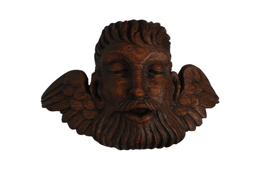 Antique hand carved angel head figurine candle sconce, Cherub putti with beard, Face mask wall ornament