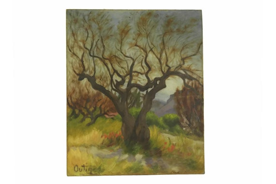 Vintage French Autumnal Tree Painting, Country Landscape Original Art