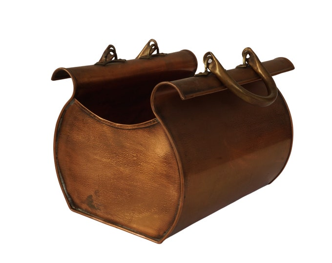French Copper Gladstone Bag Planter by Jean Paul Thevenot, Novelty Indoor Jardiniere and Pot Plant Holder