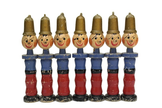 Antique Firefighter Toy Bowling Pins. Hand Painted  French Wooden Fireman Skittles. Kids Room Decor.