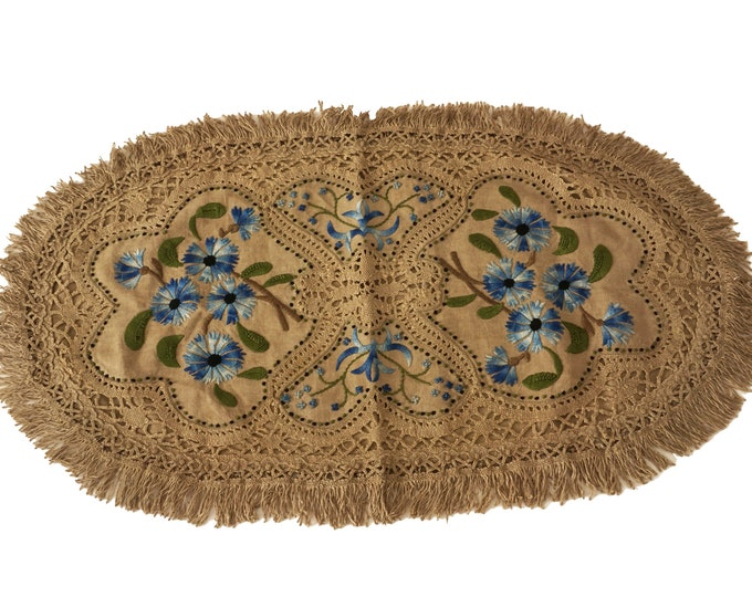 French Antique Linen and Lace Pillow Sham with Cornflower Embroidery, Oval Cushion Cover with Fringe